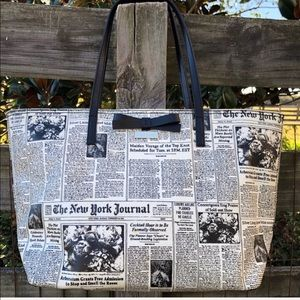 Kate Spade ♠️ Classifieds Newspaper Tote Bag Bow